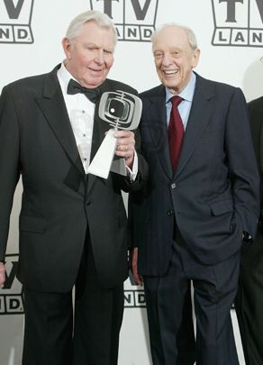 Andy Griffith and  Don Knotts (July 21, 1924- Feb. 24, 2006) pose backstage at the 2nd Annual TV Land Awards held on March 7, 2004, at The Hollywood Palladium, in Hollywood, Calif.