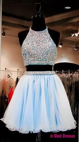 Light Sky Blue Homecoming Dresses,Tulle Homecoming Dress,2 Pieces Prom Dress,Two Piece Cocktail Dresses,Sweet 16 Gowns PD20185271