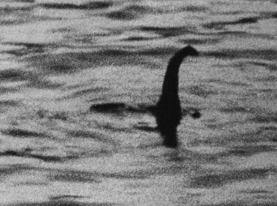 The famous 1934 photo of what many believe to be the Loch Ness monster.  Anyone see ol' Nessie?