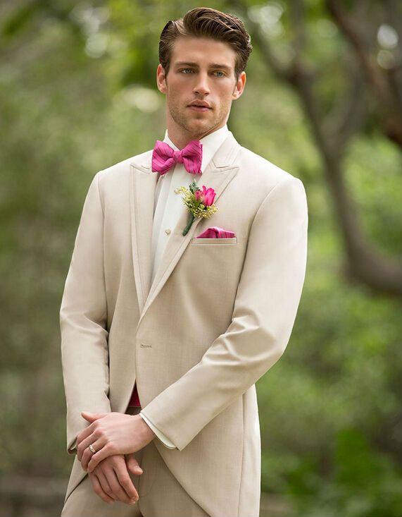 Un Botton de color Beige Tailcoat smokinges del novio 2015 alcanzó solapa mejor hombre padrinos de boda para hombre trajes de novio ( Jacket + Pants )