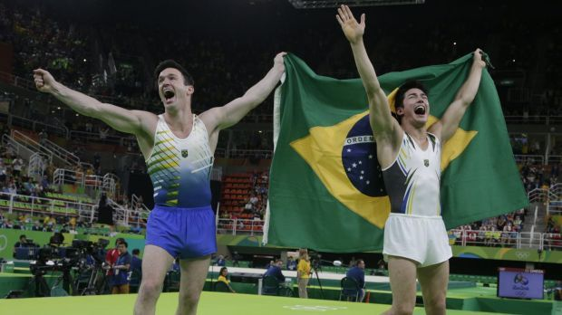 Local heroes: Brazil's Arthur Mariano, right, and Diego Hypolito share the…