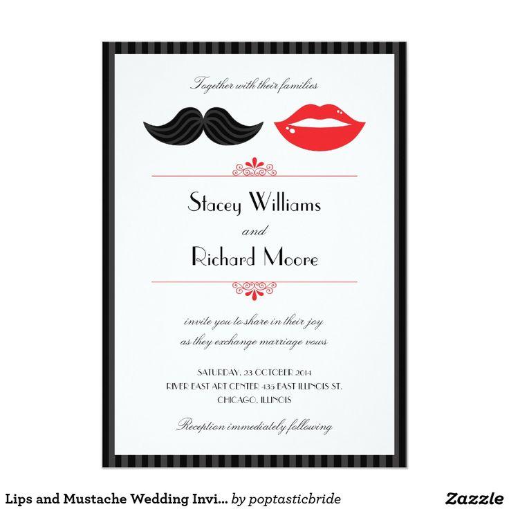 Lippen und Schnurrbart-Hochzeits-Einladung v.2 12,7 X 17,8 Cm Einladungskarte