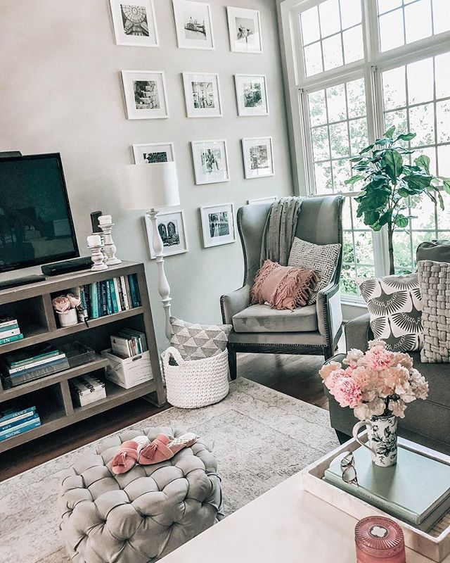 Grey White Light Pink Living Room Decor Big Window In Family