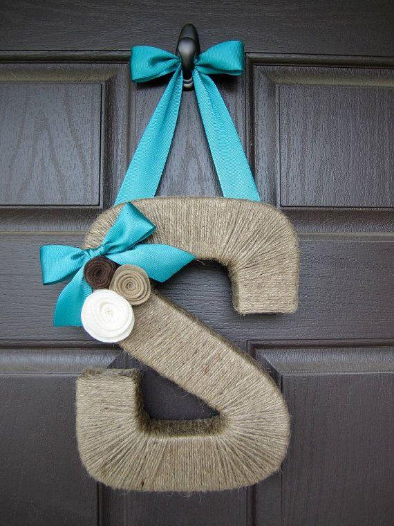 The Original Jute Monogram Wreath with Felt Rosettes. Jute Letter Wreath.Twine Letter. Letter Wreath. Door Hanger. Wall Hanging. Jute Letter