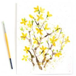 Fun & unusual ways to paint lovely watercolor flowers! These Forsythias are the first to welcome spring!