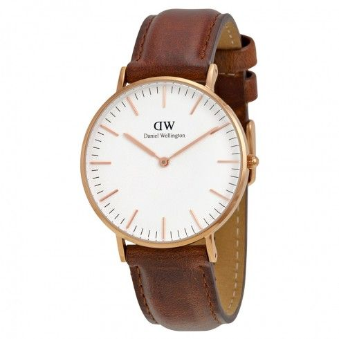 Daniel Wellington St Andrews White Dial Brown Leather Ladies Quartz Watch 0507DW