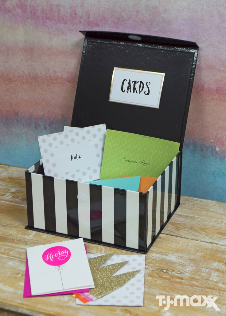 A cute storage box does double duty at your graduation party. First as a handy card holder, then after, as stylish storage for your grad to bring to school.