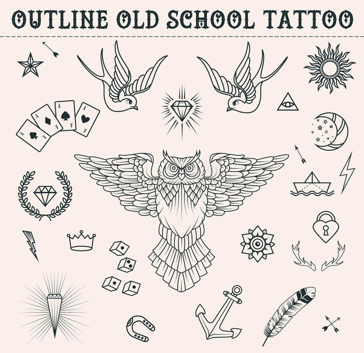 Photo about Old school tattoo set.  Cartoon  tattoo elements in funny style:anchor, owl, star, heart, diamonds, scull, swallow, lightning, game cubes….