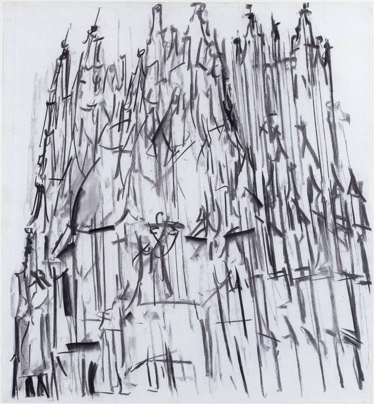 Dennis Creffield (born 1931) Canterbury Cathedra 1987 Charcoal on paper 1016 x 925 mm