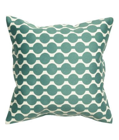 Dark turquoise. Cushion cover in jacquard-weave cotton-blend fabric with concealed zip.