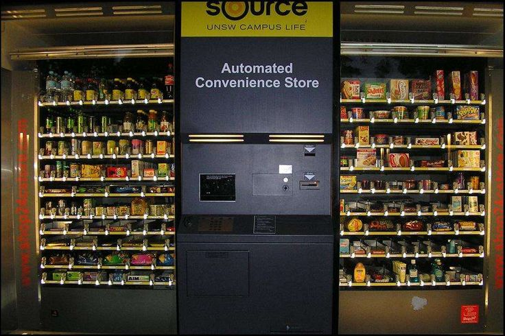 """""""Automated Convenience Store"""".....In Australia you'll find all the best parts of a convenience store - travel size toiletries, Snickers, condoms - without the smelly guy pumping nacho cheese into a bag of Fritos."""