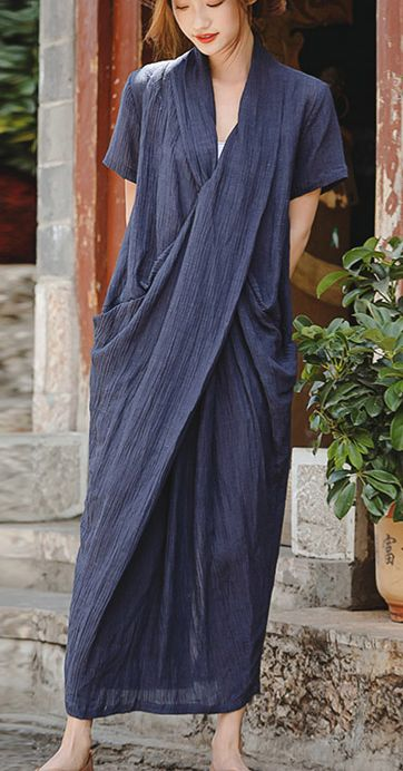 Beautiful dark blue linen dresses Plus Size Shirts v neck asymmetric Robe summer... 6