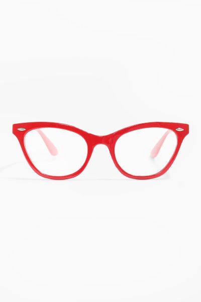 'Emma' Solid Frame Clear Cat Eye Glasses - Red - 1030-4