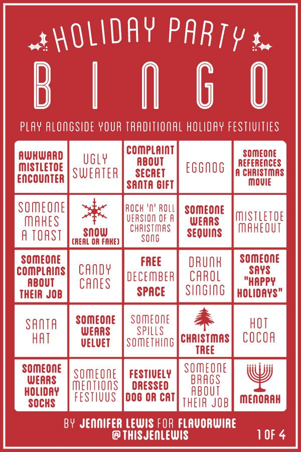 ho-ho-holiday party bingo :)    ...as if we needed another way to drink at Christmas parties.