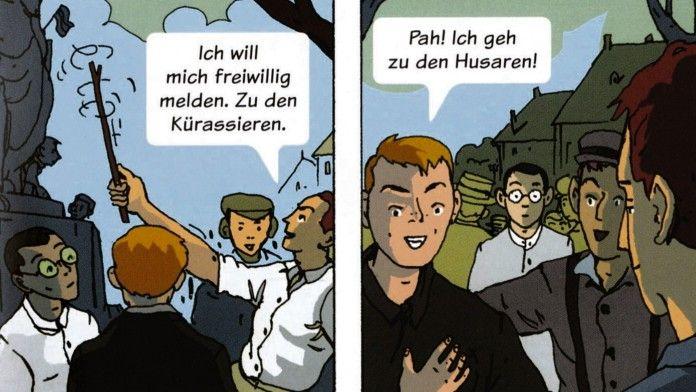 """Im geradlinigen Stil des französischen Comics erzählt das """"Tagebuch 14/18"""", wie Jugendliche aus Deutschland und Frankreich die Zeit des Ersten Weltkriegs erlebt haben. Ein Beispiel für hautnahe Teenagergeschichte."""