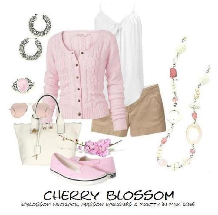 What a nice Spring time outfit!Pink Pink Pink, Cherries Blossoms, Summer Outfit, Soft Pink, Design Jewelry, Premier Jewelry, Spring Outfit, First Designs, Cherry Blossoms