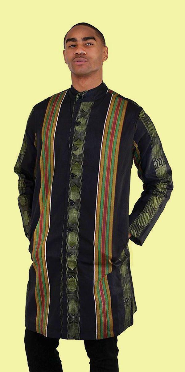 Domple Men Casual Loose African Print Dashiki Long Sleeve Mid Length Dress Shirt