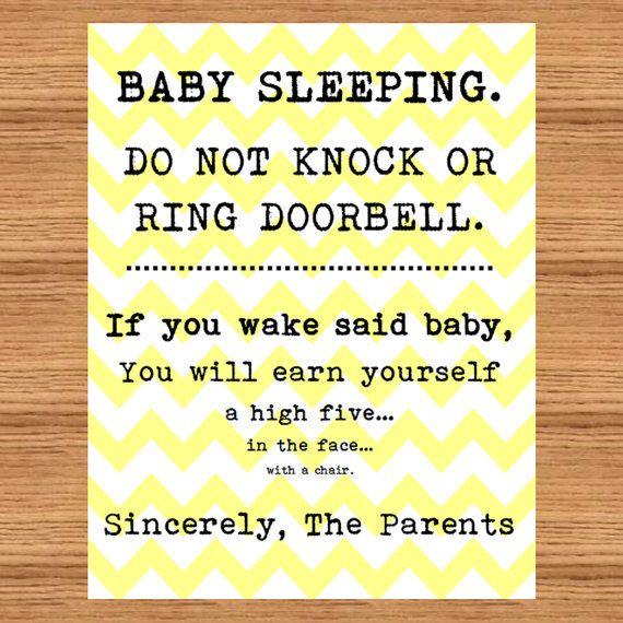 Baby Sleeping Sign Front Door Do Not Disturb High By