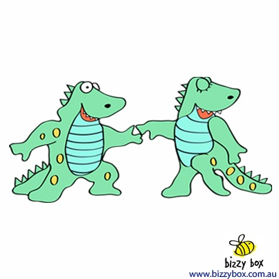 "What's your favorite dinosaur book?   ""Dinos dancing in a book.  Dinos leaping, look, look, look!  Dinos pasting red and blue.  Dinos wasting paint and glue!""  -- Dancing Dinos Go to School by Sally Lucas"