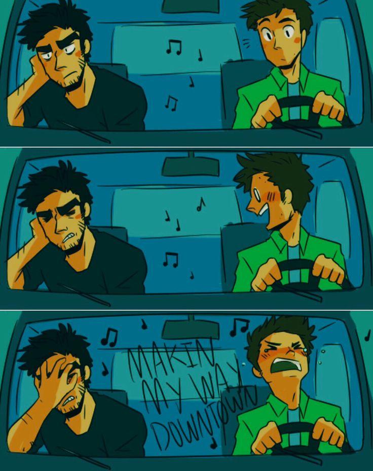 stiles singing to the blaring radio in his car. and annoyed!derek