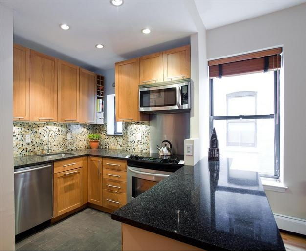 Our former kitchen: Ikea kitchen Bosh dishwasher Brooklyn apartment kitchen