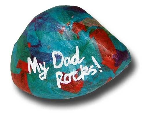Father's Day craft for kids: Rock paperweight. A homemade gift that will make him chuckle. (You can also make this a garden rock.)