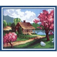 Collection D'Art 6.186 Spring Homestead with Sheep Tapestry Canvas