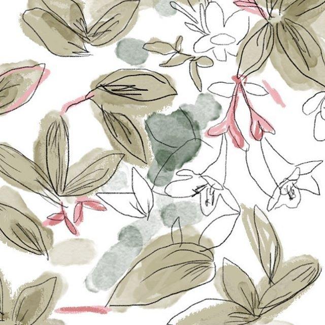 lizmacdesigns Sketchy watercolour WIP #designcollection #wip #onmydesk #studioscenes #textiles #textiledesign #creativeprocess #surfacespatterns