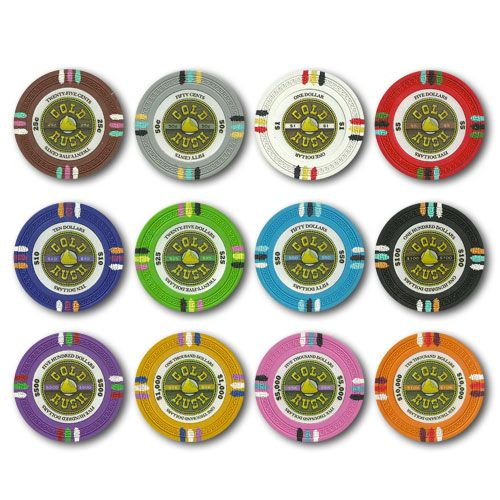 Gold Rush 13.5 gram clay composite Poker Chips.