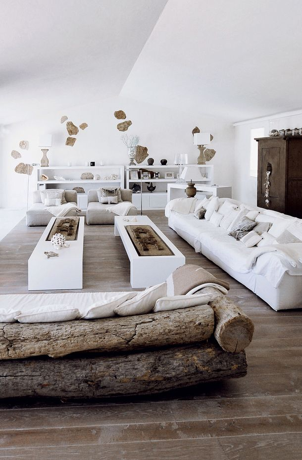 white, wood and stones