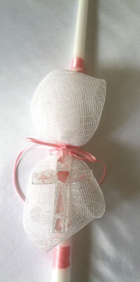 Greek Weddings and Traditions - White and Pink Cross Easter Candle , $20.00 (http://www.greekweddingshop.com/white-and-pink-cross-easter-candle/)
