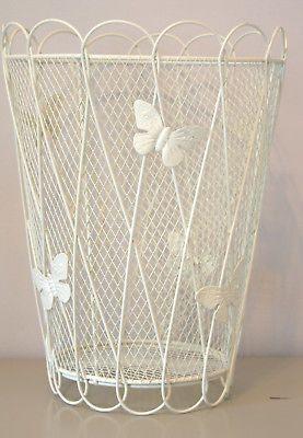 Cream butterflies and baskets on pinterest - Shabby chic wastebasket ...