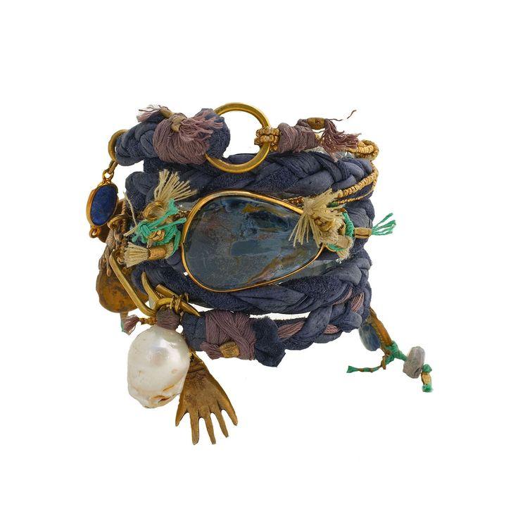 Wrap Bracelet | De Petra Designs.  'Maya Blue'.  Grey/green leather, handmade brass tubes, brass donuts, labradorite, pearl and spectrolite
