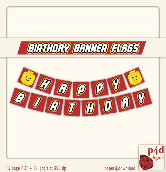 Happy Birthday Banner  Set of 7.5 Square Flags  by paper4download