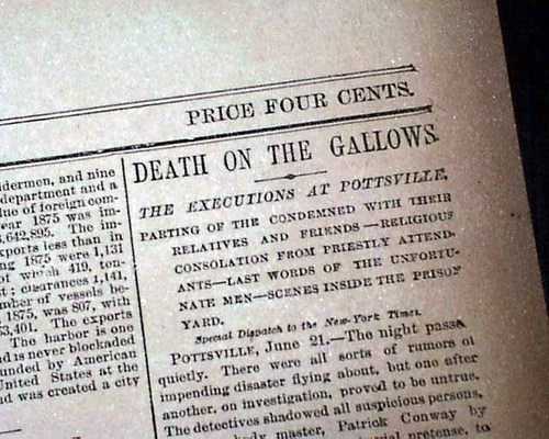 Molly Maguires Pottsville Mauch Chunk PA Hangings Executions in 1877 Newspaper | eBay