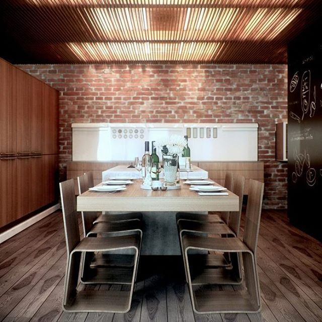 Gorgeous dining room design with brick wall decor by © Ryan Coy. It looks so classic. #diningroom #diningroomdesign #diningroomdecor #design #decor #gorgeous #great #interior #interiordesign #instagram #instalike #awesome