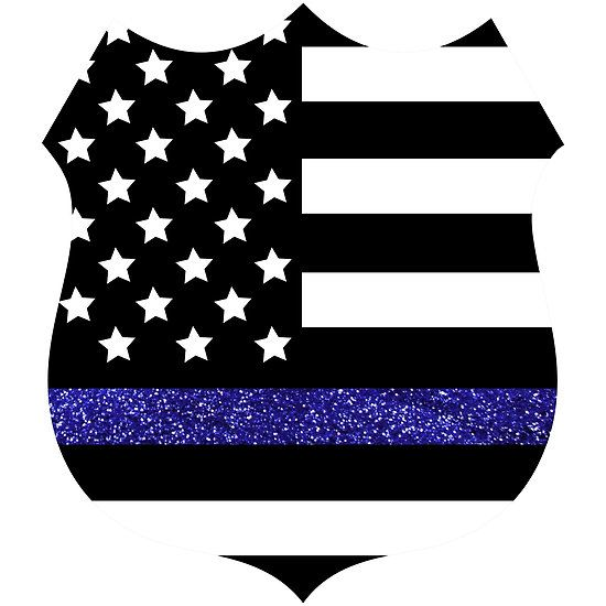 Thin Blue Line Police Flag Badge with Blue Glitter