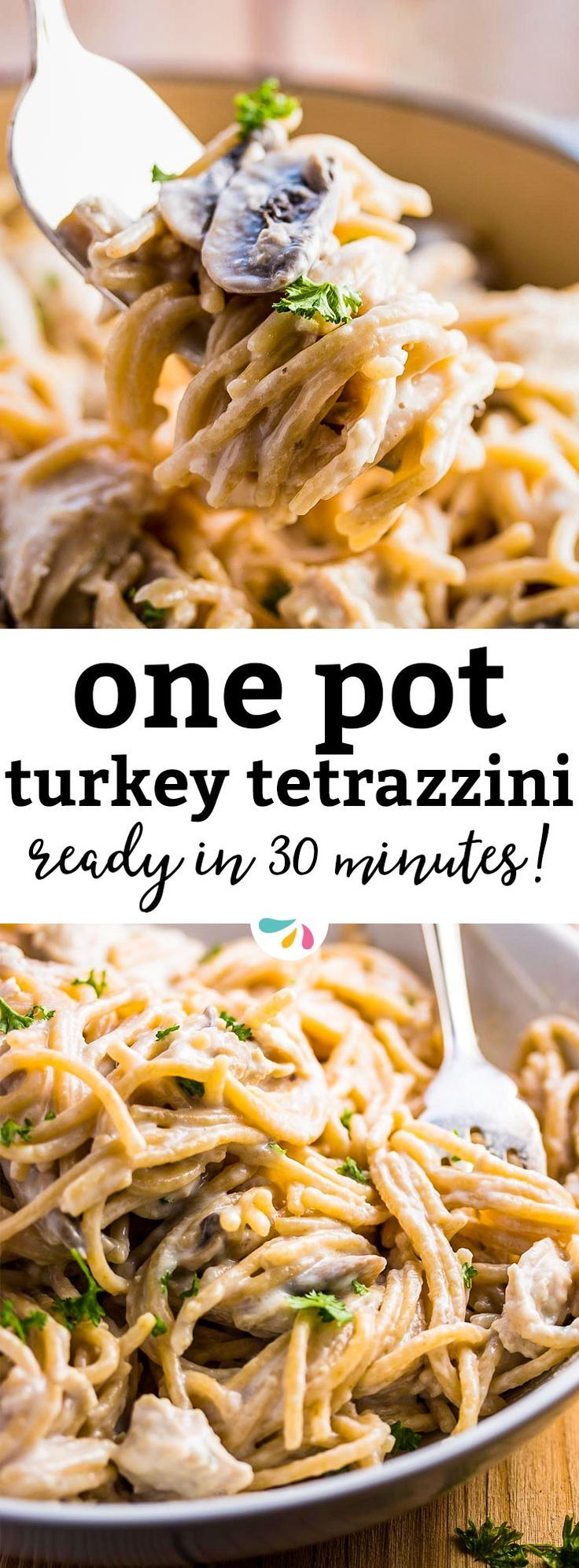 Relax your dinner time with this 30 Minute Healthy Stovetop Turkey Tetrazzini recipe. It's quick and easy to make and is sure to become a new family favorite. Skinny ingredient swap make it a lighter choice for dinners this fall. It's perfect to use up Thanksgiving leftovers! A simple recipe without baking and made in a single pot - even the pasta gets cooked right in the sauce! Never ask yourself what's for dinner after the holidays again - you will love this easy weeknight idea.