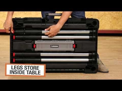 Husky Portable Jobsite Workbench - YouTube