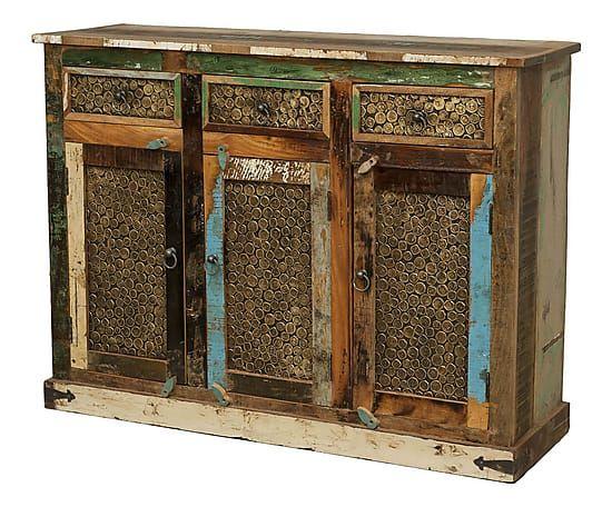Credenza a 3 ante in legno riciclato Recycle - 125x40x95 cm