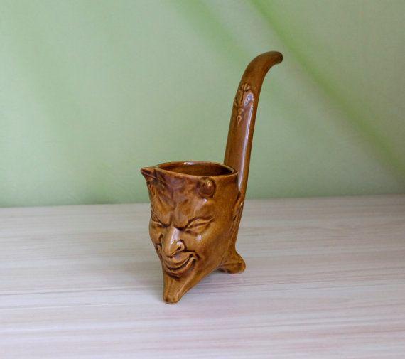 Devil Face Pipe vintage ceramic devil ashtray by MadeInTheUSSR