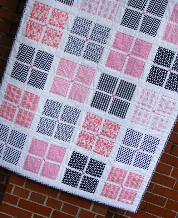 Modern Quilt and Burp Cloth Gift Set, Baby Girl Quilt, Baby Blanket Bedding, Pink and Black with Chevrons on Etsy, $125.00