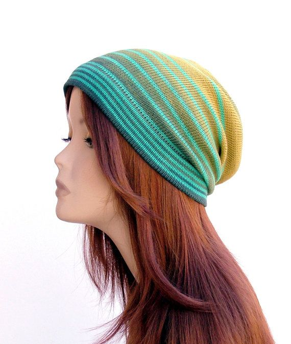 Cotton knit slouchy beanie in ombre green, yellow and turquoise by rukkola on Etsy. #cottonbeanie #slouchybeanie #colorful