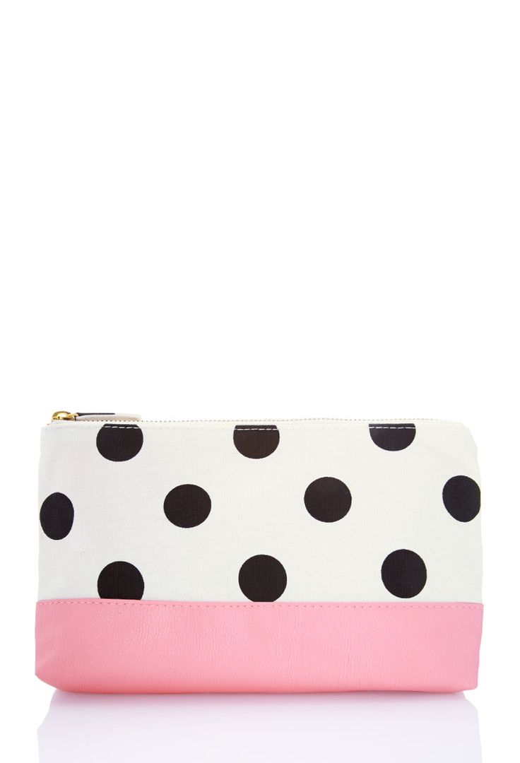 Polka Dot Cosmetic Pouch | FOREVER21 #F21Cosmetics #Makeup { I would use this as a pencil case, any cosmetic bag I have on this bored }