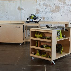 Check out this project on RYOBI Nation - Creating the ultimate garage work space doesn't have to be expensive or difficult.  This transforming workbench has a built in miter saw, table saw, pocket hole jig, charging station and much more - and it's easy to customize to fit your needs!  And the best part is when you are done working, the entire workbench neatly stows away.  Not that you ever want to stow away your workshop.  Easy and fun to build, you'll be amazed at how quickly this…
