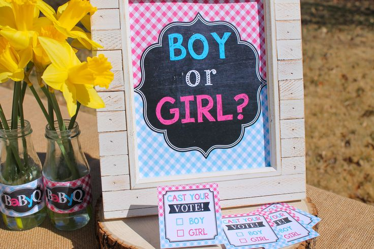 Voting station for a Gender Reveal Baby Q party. These decorations are super easy to print and really affordable!!