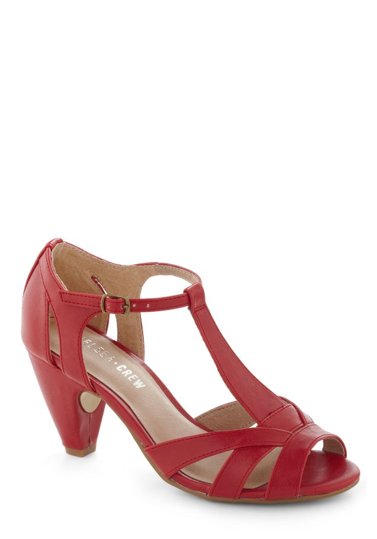 How Do You Feel? Heel in Red by Chelsea Crew - Red, Solid, Cutout, Peep Toe, Mid, Leather, Faux Leather, Work, Vintage Inspired, 40s, Nautical