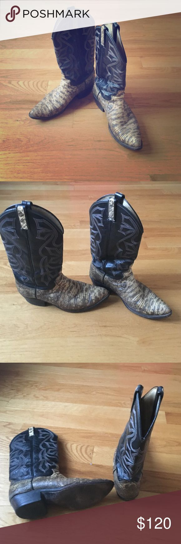 Men's snakeskin cowboy boots Leather and snakeskin Dan Post genuine cowboy boots. Made in USA. Size approximate. Dan Post Shoes Cowboy & Western Boots