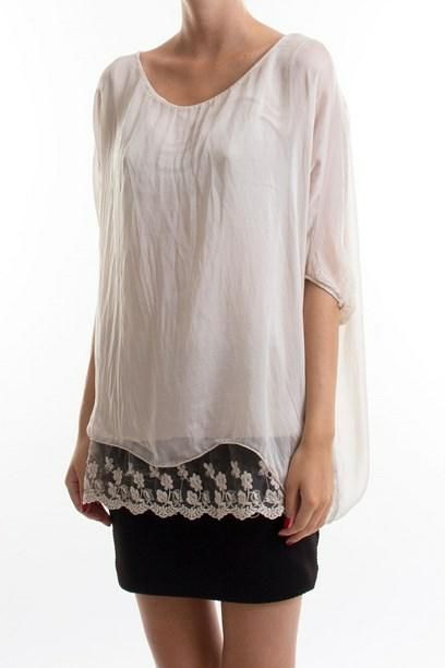 AYAH TOP- Top with lace detail. Let sommer top med blonde kant.