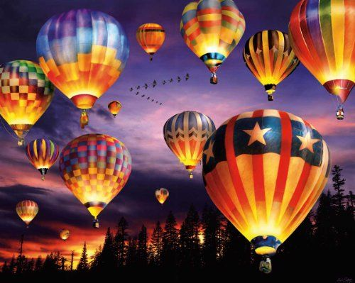 White Mountain Puzzles Balloons Aglow - 1000 Piece Jigsaw ...